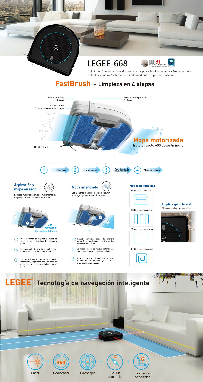 Legee 668. Robot 4 en 1. Aspiración + Mopa en seco + pulverización de agua + mopa en mojado.  Patente exclusiva. Sistema de frotado mediante mopas motorizadas